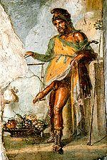 Priape sur une fresque de Pompeï