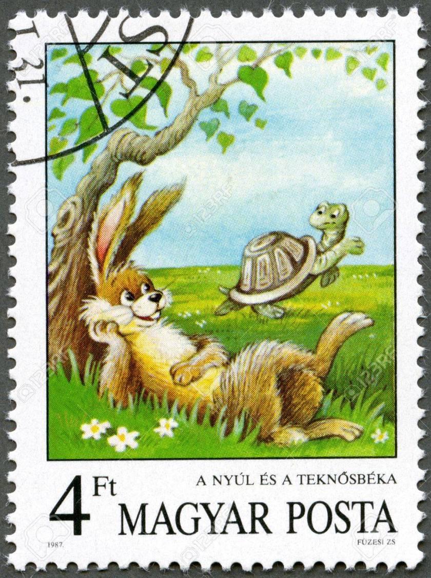 12812404-hongrie-circa-1987-un-timbre-imprimé-par-la-hongrie-affiche-le-lièvre-et-la-tortue-les-fables-d-esope